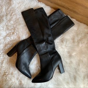 LOEFFLER RANDALL black leather knee high boots 9.5